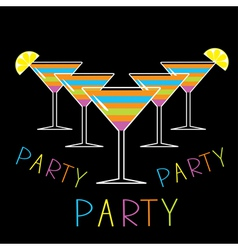 Set of five glasses with striped cocktails party vector