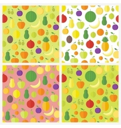 Set of seamless patterns with fruits and berries vector