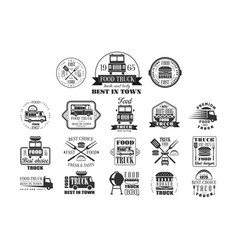Set of vintage logos for street food monochrome vector