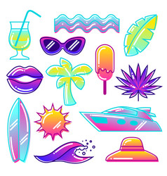 Set stylized summer objects abstract vector