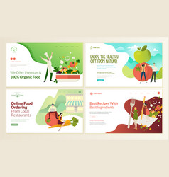 set web page design templates for organic food vector image