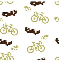 skateboard bike whistle pattern seamless isolated vector image