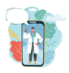 smartphone with male doctor on smartphone vector image