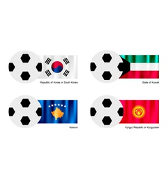Soccer Ball with South Korea Kuwait Kosovo Flag vector image