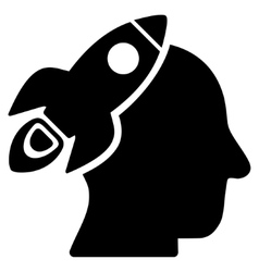 Space Rocket Thinking Head Flat Icon vector image