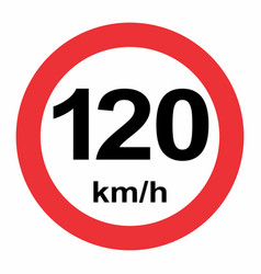 speed limit 120 kmh traffic sign vector image