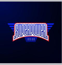 sport emblem typography super power hero logotype vector image