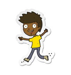Sticker of a cartoon crazy excited boy vector