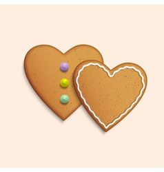 Symbol of Valentines day two Cookies hearts vector image