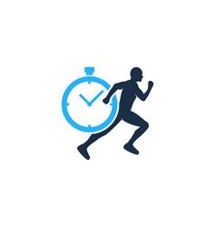 timer run logo icon design vector image
