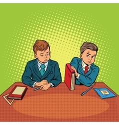 Two boys in school bulling discrimination vector