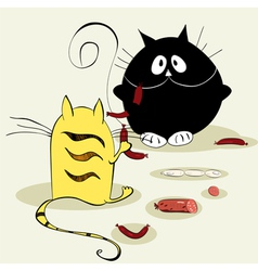 two cats vector image