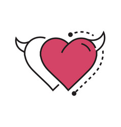 Two line icon style heart devil pink vector