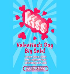 valentines day sale concept banner comics vector image