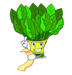 with menu fresh spinach vegetables in character vector image