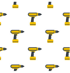 Yellow electric screwdriver drill pattern flat vector