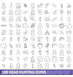 100 head hunting icons set outline style vector image vector image