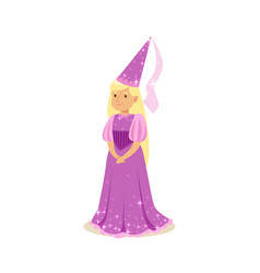 beautifull blonde little girl princess in a purple vector image vector image