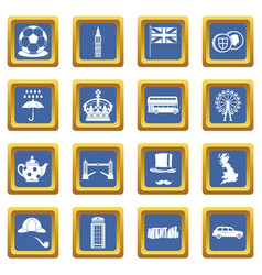 great britain icons set blue vector image