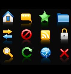 internet black background icon set vector image vector image