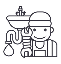 plumbing service line icon sign vector image vector image