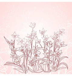 spring flowers outline background vector image