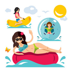 water attraction flat style colorful vector image vector image