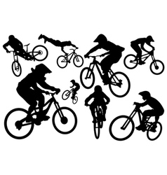 Cyclist silhouettes vector image