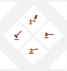 flat icon hammer set of defense tribunal crime vector image vector image