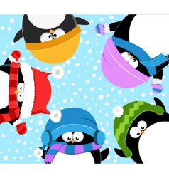 Penguins Celebrating Snow vector image vector image