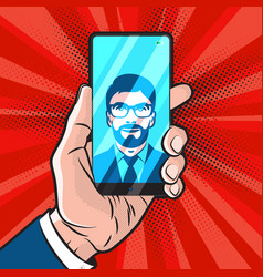 smartphone in hand vector image