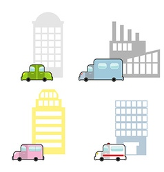 Transport and public buildings set cartoon style vector image vector image
