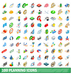 100 planning icons set isometric 3d style vector image