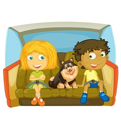 Children and dog sitting in the car vector image vector image