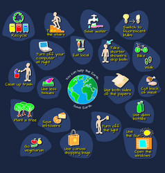 you can help the earth ecology infographic vector image