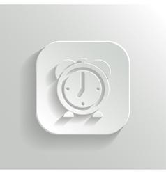Alarm clock icon - white app button vector image vector image