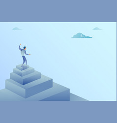 business man standing on stairs top finance growth vector image vector image