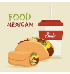 cartoon food mexican design isolated vector image vector image