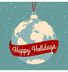 Earth globe christmas greeting card design vector