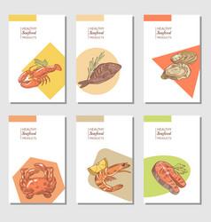 hand drawn sea food cards brochure design vector image vector image