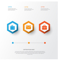 Job icons set collection of envelope suitcase vector