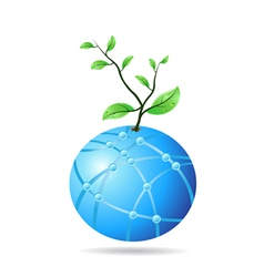 plant growing from glass globe vector image vector image