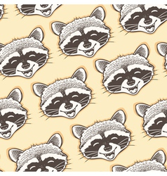 seamless pattern with head of a happy raccoon vector image vector image