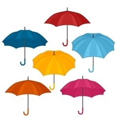Set of abstract color umbrellas on white vector image vector image