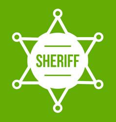 sheriff badge icon green vector image