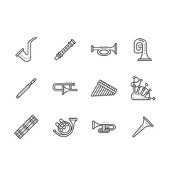 Wind musical instruments black line icons vector image