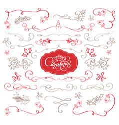 winter set of decorative calligraphic elements vector image vector image