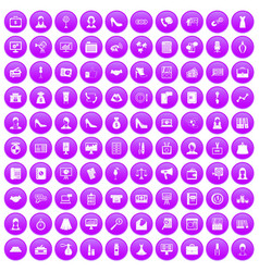 100 business woman icons set purple vector