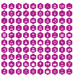 100 hairdresser icons hexagon violet vector image