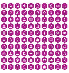 100 hairdresser icons hexagon violet vector
